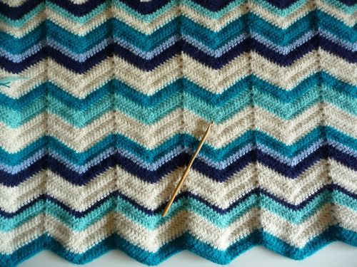couverture crochet point de vague 1