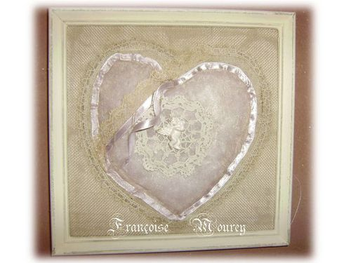 Présentation2 coeur en tissu cadre