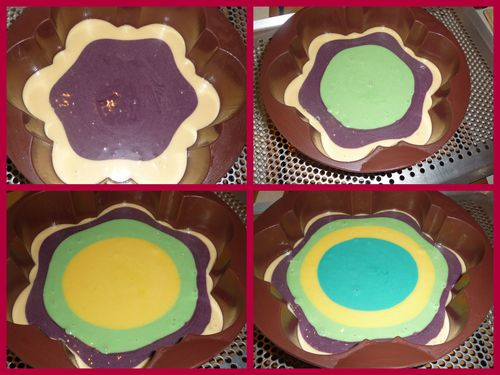 Gateau multicolore