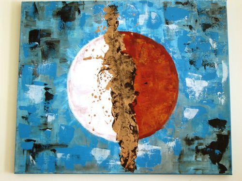 Tableau abstrait terre oc ans fond bleu contemporain for Peinture tableau noir aimantee