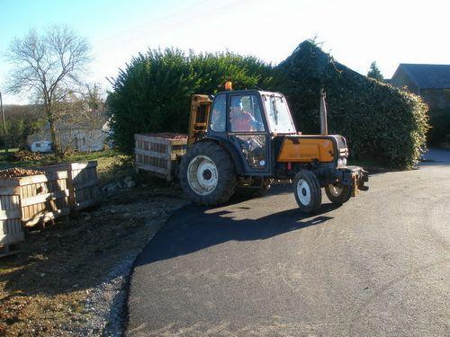 Pallox chargé sur tracteur