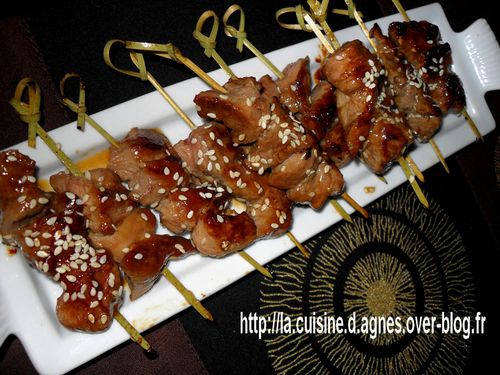 brochettes de canard sauce yakitori la cuisine d 39 agn s. Black Bedroom Furniture Sets. Home Design Ideas