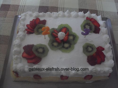 Gateau d'anniversaire creme chantilly