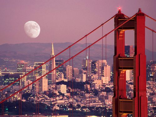 The Moon Over San Francisco, San Francisco, California, USA