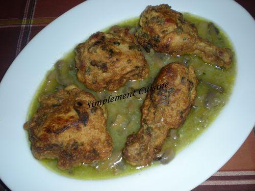 poulet frit sauce champignon4