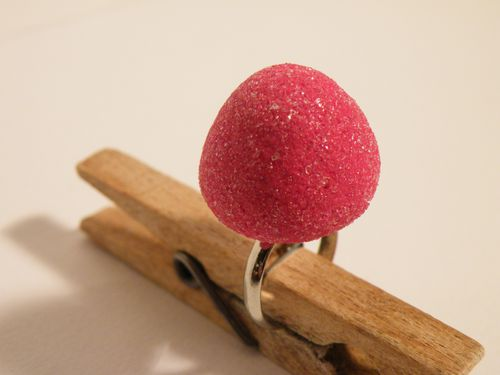 bague fraise tagada fimo