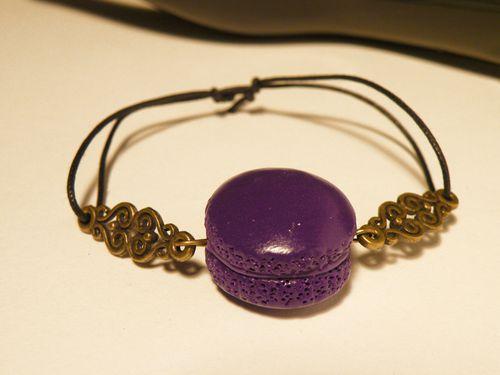 bracelet macaron violette fimo