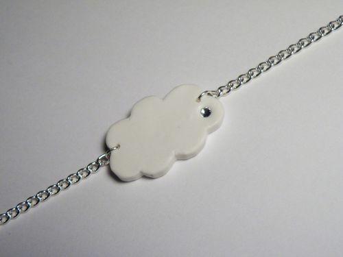 bracelet nuage blanc fimo - shamhalo