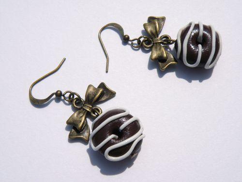 boucles d'oreilles donuts chocolat