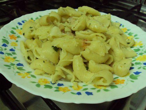 tagliatelles aux crevettes-sauce persillée