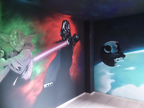 Graffiti para habitacion de ni o star wars el blog de for Decoracion de cuarto star wars