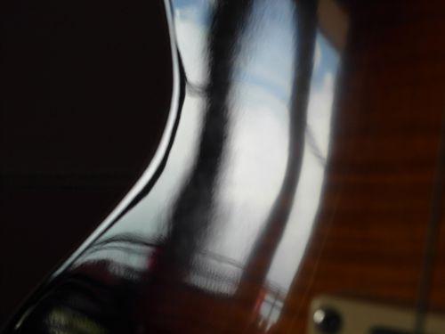 reflet, guitare, courbe, flou, lueur