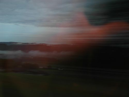 train vue du, flou, crepuscule, motion