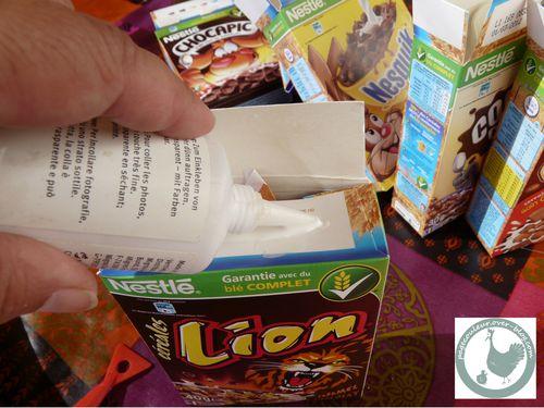 boite de céréales recollée