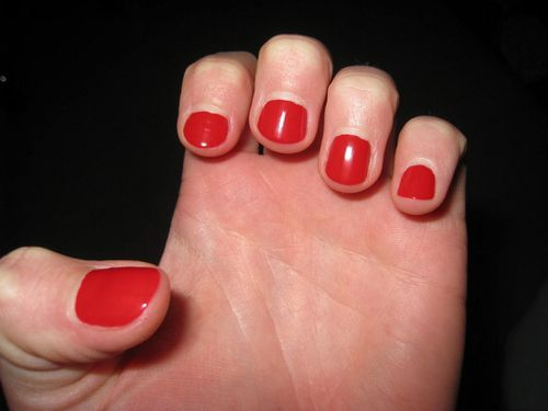Nail art scotch noir et rouge 01