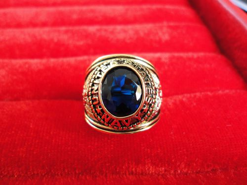 Bague Us Navy Plaque Or Bleue New American Collection