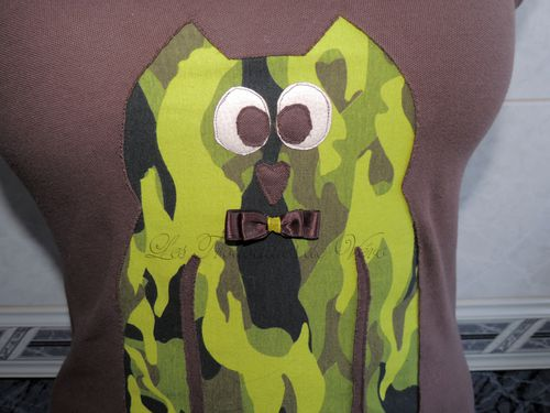 Tee shirt appliqu invers hibou
