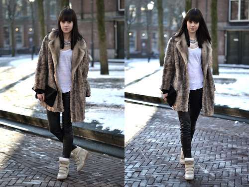 outfit-isabel-marant-willow-sneakers-beige-fur-coat-leather