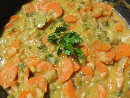 fricassée de feves-carottes