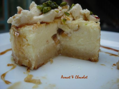 cheese cake nougat cacahouetes pistaches leger au caramel