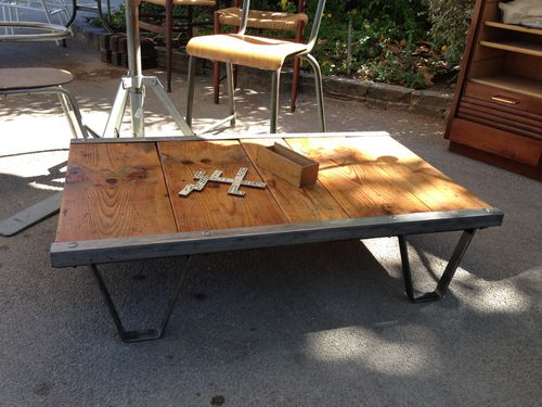 Table basse palette sncf industriel loft meuble de salon contemporain - Table basse palette industrielle vintage ...