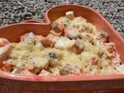 Lasagnes de pommes de terre aux deux saumons