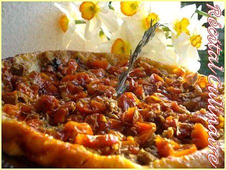 tarte tatin aux tomates cerises confites et au thon. Black Bedroom Furniture Sets. Home Design Ideas