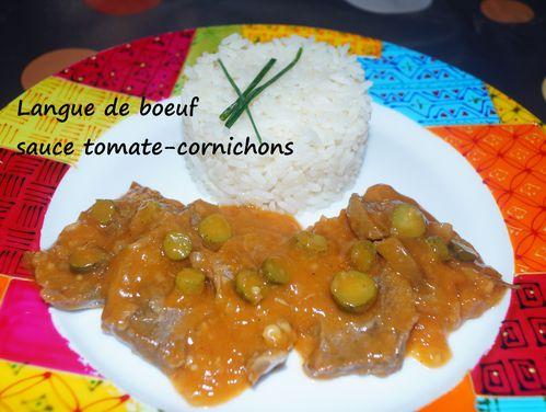 Langue de boeuf sauce tomate-cornichons