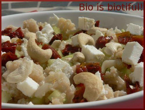 Salade froide chou-fleur, concombre, féta 1