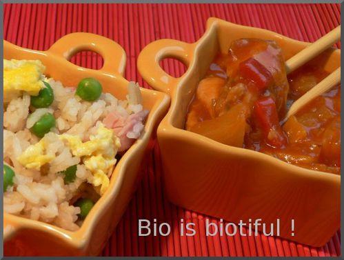 Poulet sauce aigre douce et riz cantonais 1