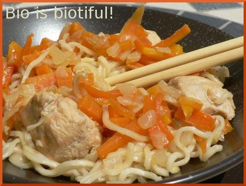 Wok nouilles chinoises poulet sauce au gingembre 1