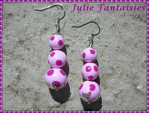 BOF 02 boucles d'oreille triboules light pink & fushia en f