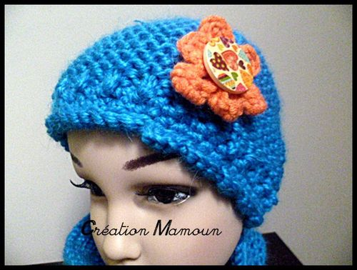 ensemble bonnet et snood bleu 2