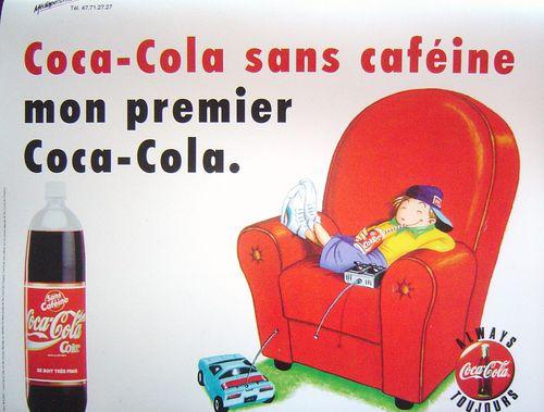 Cola Cola décaféiné, affichette 1980 et +