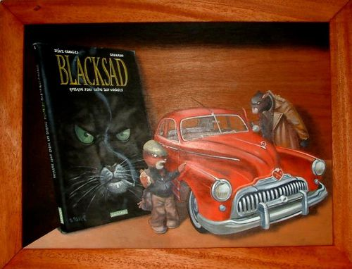 gilbert souli tableau en trompe l 39 oeil blacksad blacksadmania le site des passionn s. Black Bedroom Furniture Sets. Home Design Ideas