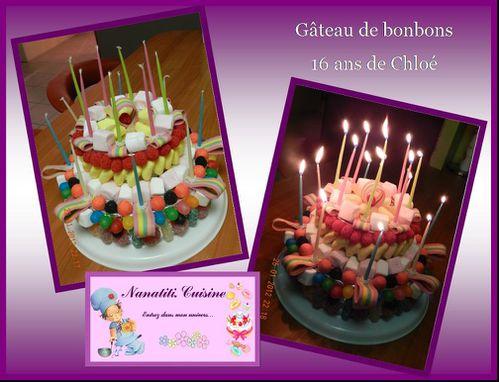 gâteau de bonbons 16 ans chloé