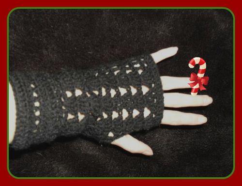 mitaines crochet laine noire