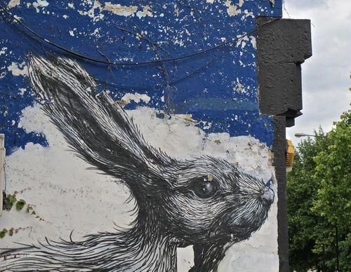 Londres street-art Hackney Roa lapin 8112