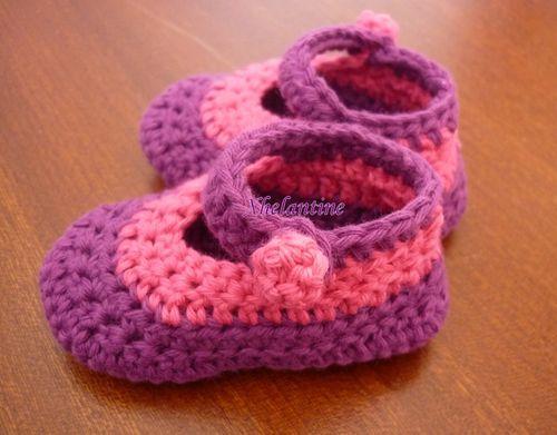 ballerines bébé rose et violet 4