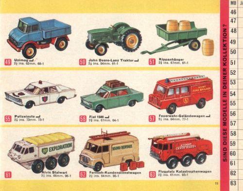 catalogue matchbox 1966 P11 unimog traktor john deere alvis
