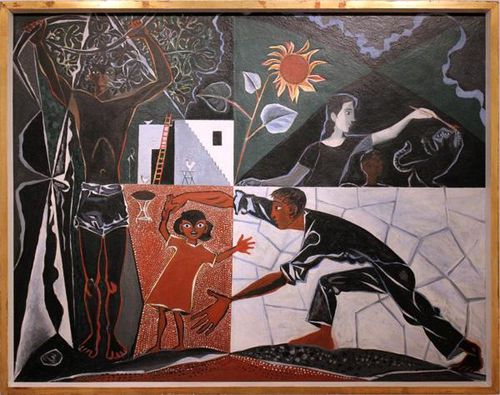 724a John Craxton, Black Greek Landscape with Figures (1950