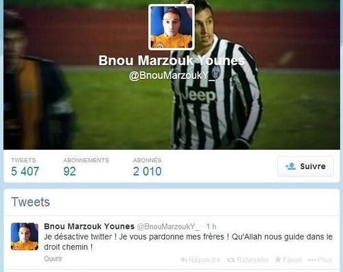 Younès Bnou Marzouk Juventus Turin compte Twitter désacti