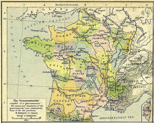 Carte anglaise, France, Anciennes Provinces 1789 Wikipedia