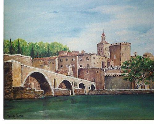 Le pont d'Avigon. Acrylique sur toile.