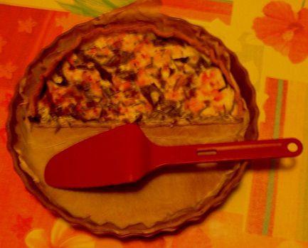tarte à l'oseille et petites crevettes