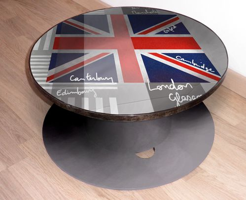table basse drapeau anglais grise peinture acrylique sur touret en bois artiste graphiste. Black Bedroom Furniture Sets. Home Design Ideas