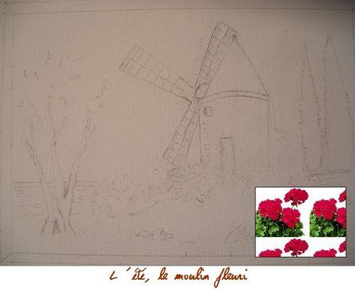 dessin moulin fleuri