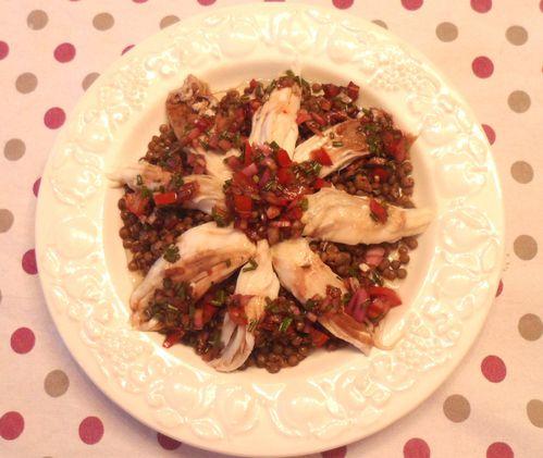 salade d'aile de raie aux lentilles