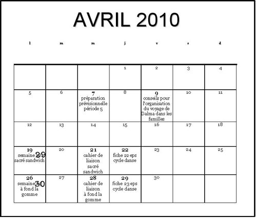 calendrier avril 2010 2
