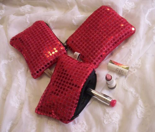 Mini trousse paillette rouge